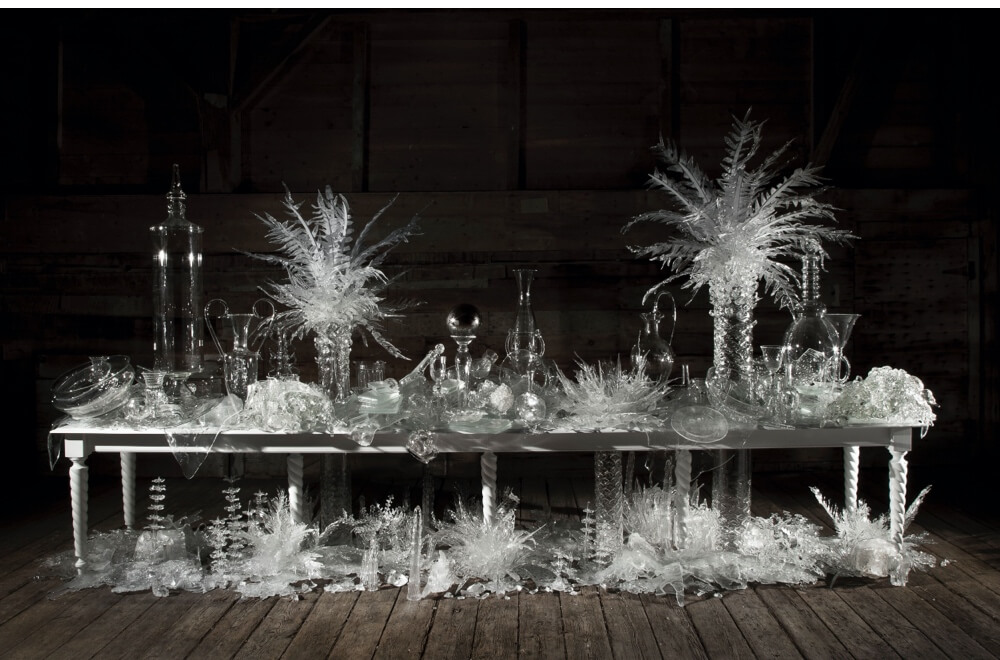 'Laid (Time-) Table with Cycads', 2015 by Adrian Madlener